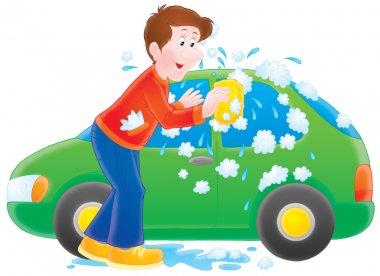Man washing his tiny green car