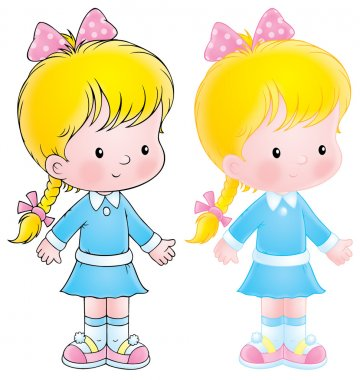 Blond girl in a blue dress