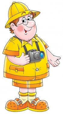 friendly chubby male tourist with a camera around his neck