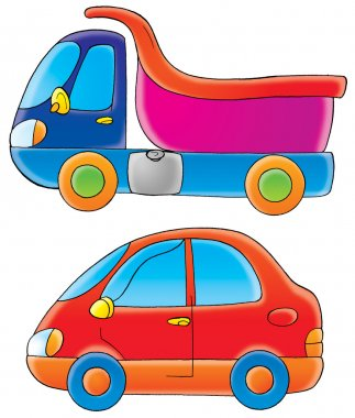 blue and pink dump truck and a red car