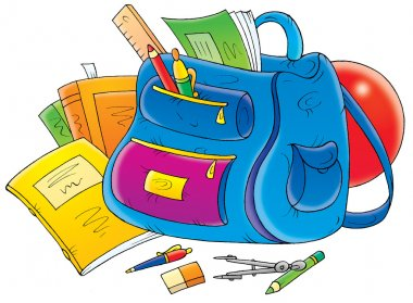 School supplies around a backpack