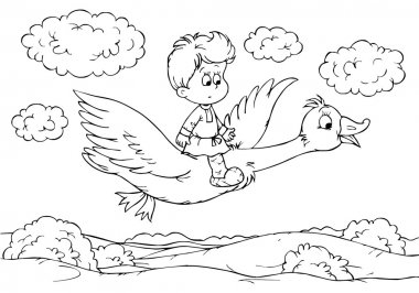 Boy flying on a goose