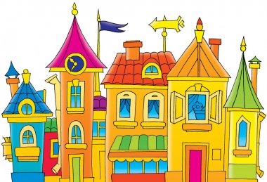 Group of colorful buildings with turrets