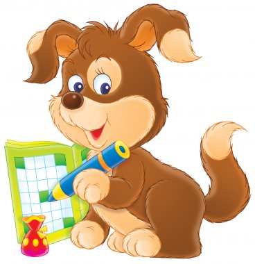 Brown puppy dog writing in an activity book with a blue pencil.