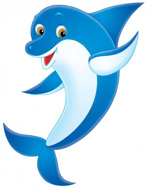 friendly blue dolphin with a white belly and brown eyes