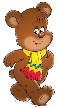 cute brown bear wearing a scarf