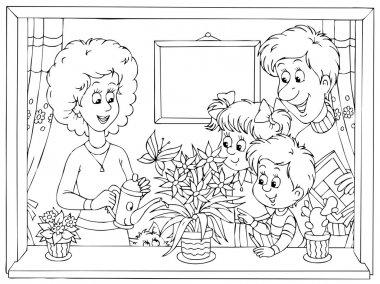 happy family watering plants in a window