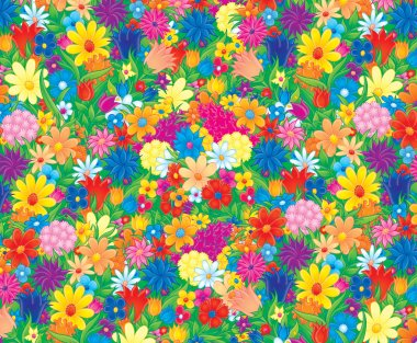 Colorful and crowded spring flowers
