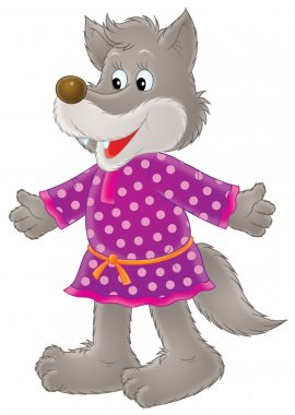 Wolf in a purple polka dot dress