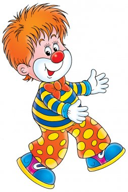 Red haired circus clown walking funny