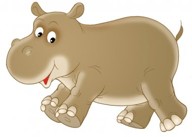 Brown baby hippopotamus