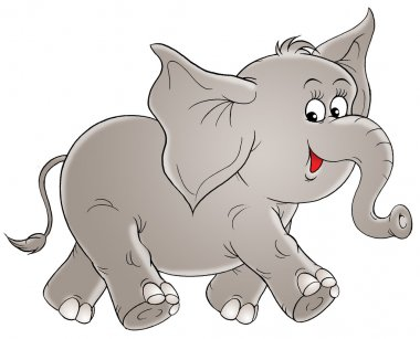 Adorable gray elephant walking to the right