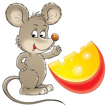 Mouse waving and standing with a wedge of cheese