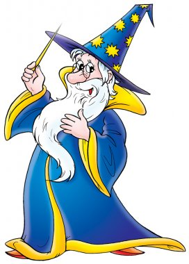 Friendly male wizard in a blue and yellow hat and cape