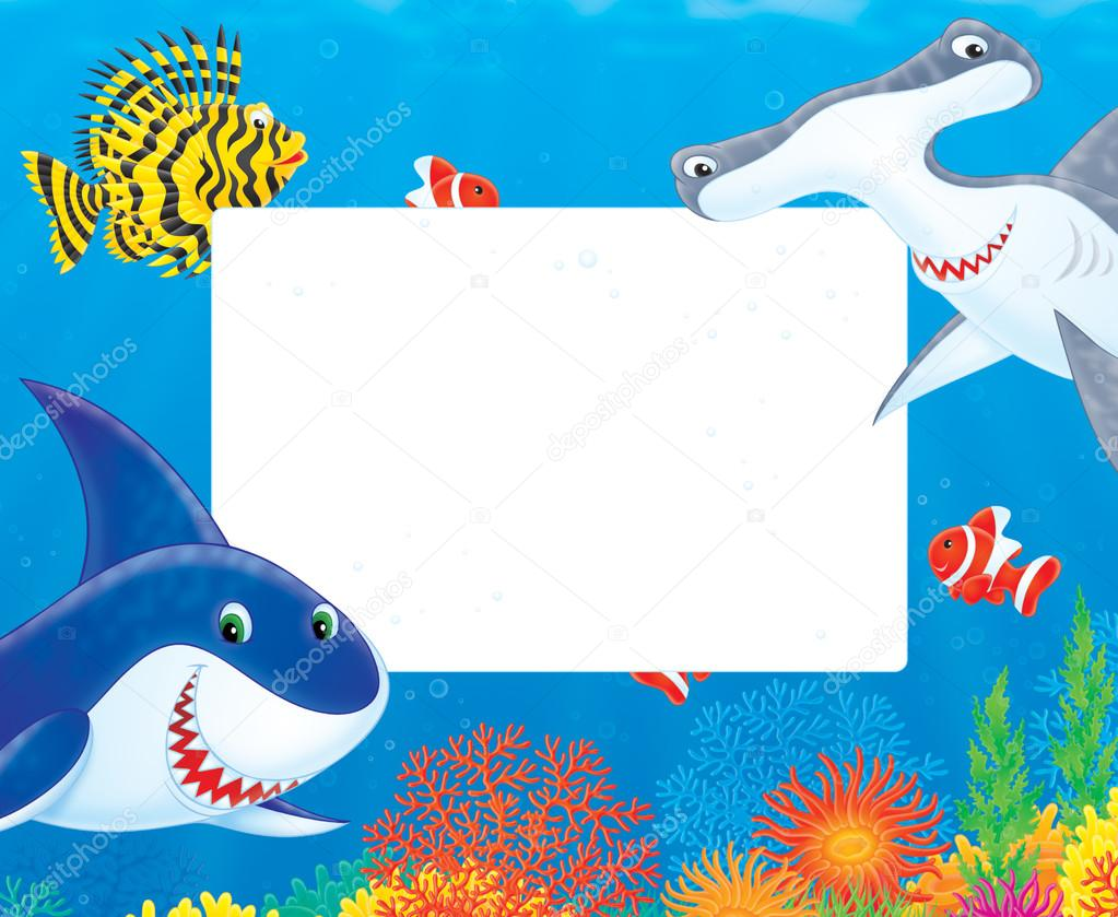 Fish and shark frame — Stock Photo © AlexBannykh #31115577