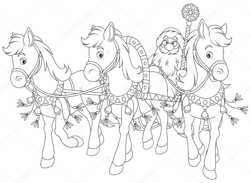 santa contorneado con caballos tirando de su trineo — Foto de stock ...