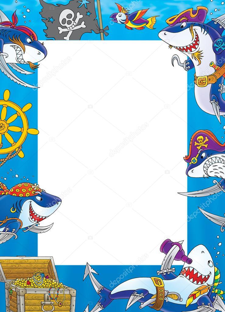 Pirate shark frame around white space. — Stock Photo © AlexBannykh ...