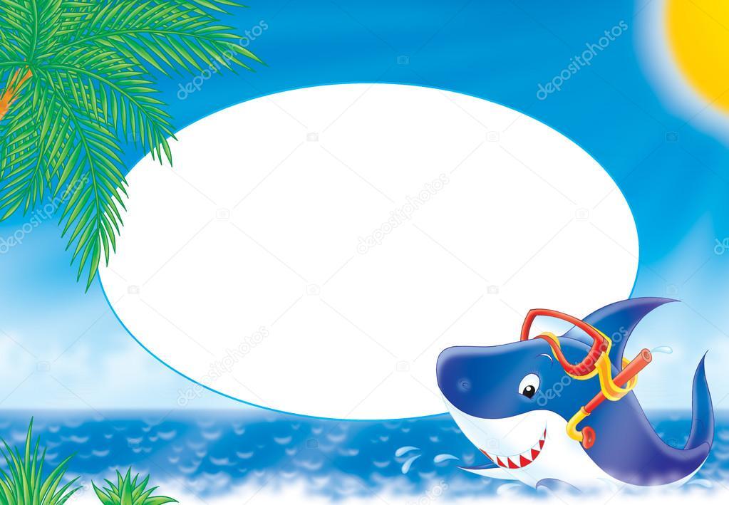 Frame with a snorkeling shark near a tropical beach. — Stock Photo ...