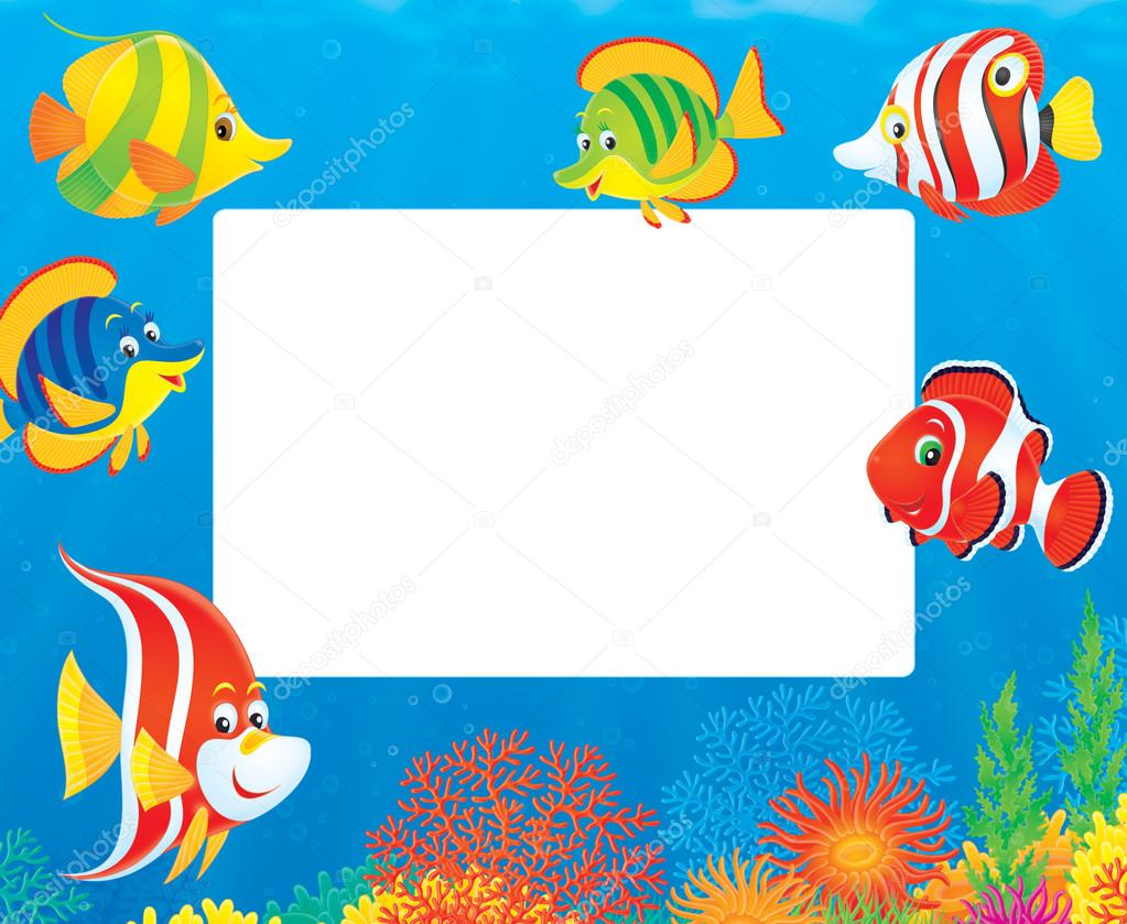 fish and coral reef frame — Stock Photo © AlexBannykh #31116561