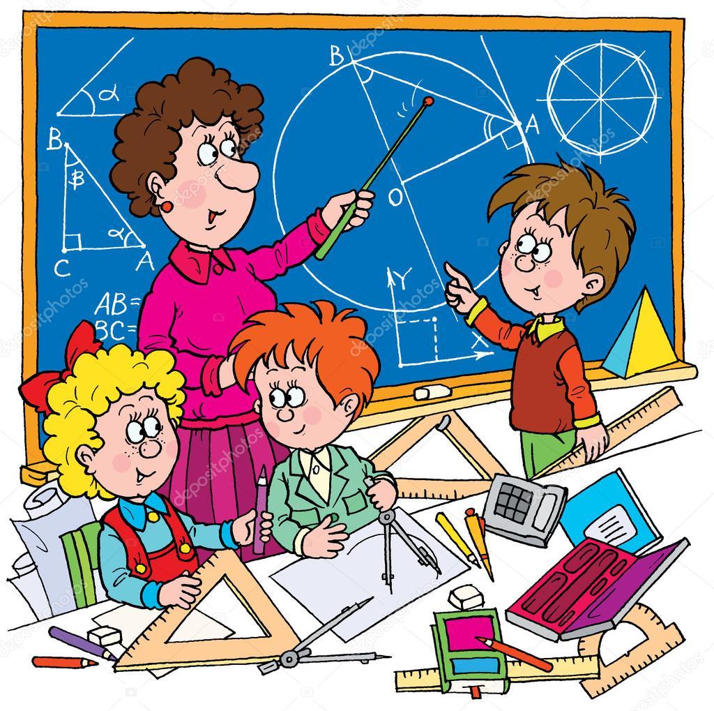 female math teacher teaching school students — stock photo