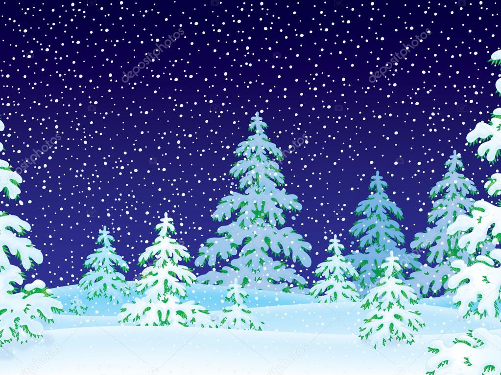 Dark snowing night with flocked evergreen trees.