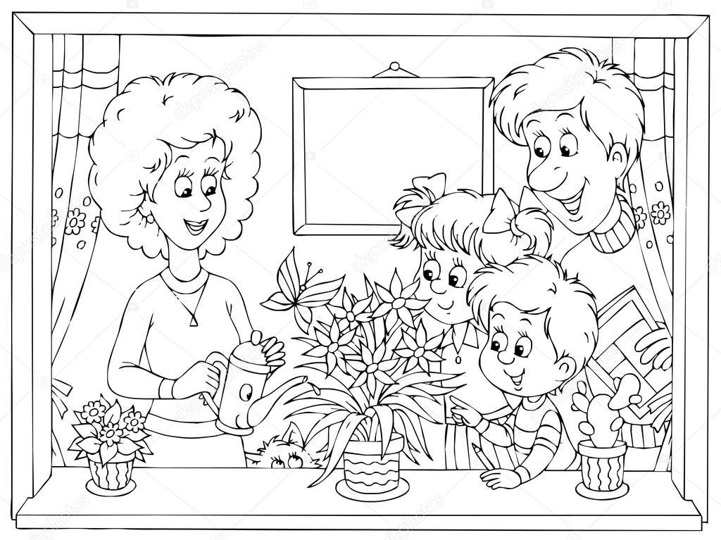 Imágenes Personas Regando Plantas Para Colorear Familia