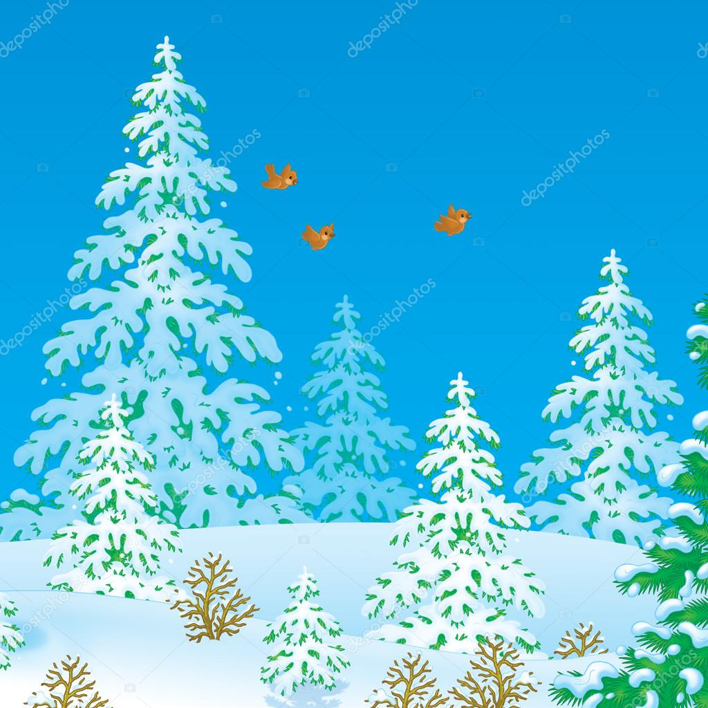 three birds flying in a winter forest