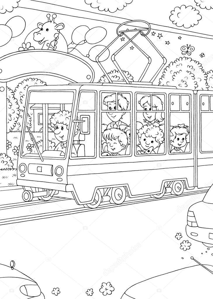 personas que utilizan un tranvía público — Foto de stock ...
