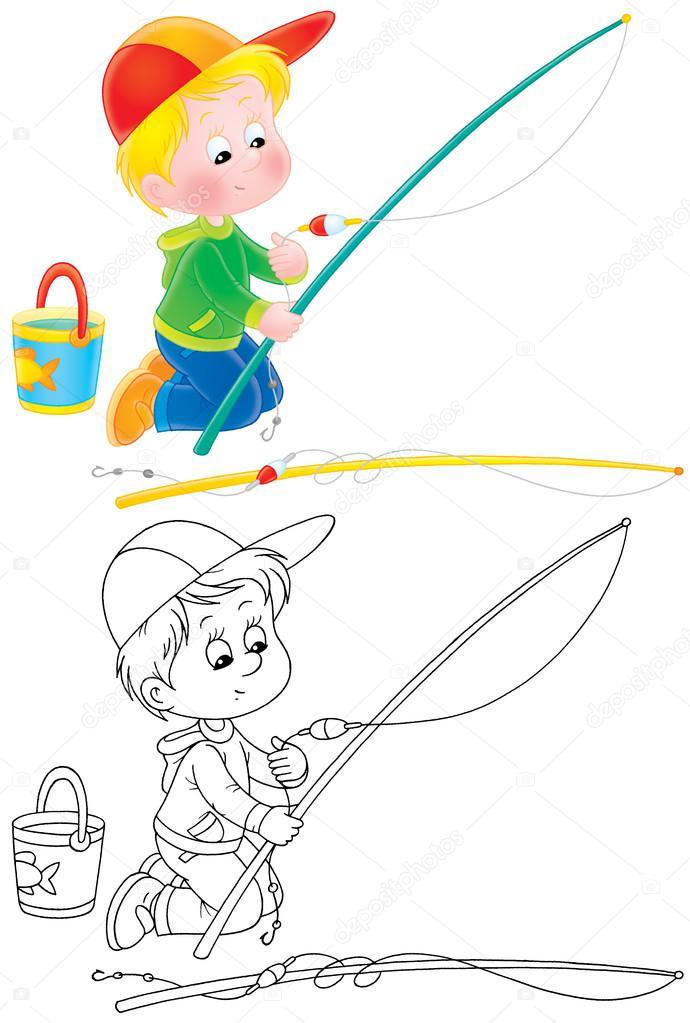 niño arrodillado y preparando una caña de pescar — Foto de stock ...