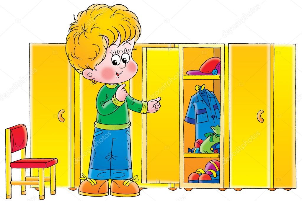 Blond boy looking at messy shelves in a locker room