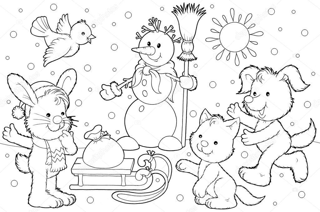 muñeco de nieve de invierno y los animales por un trineo — Foto de ...