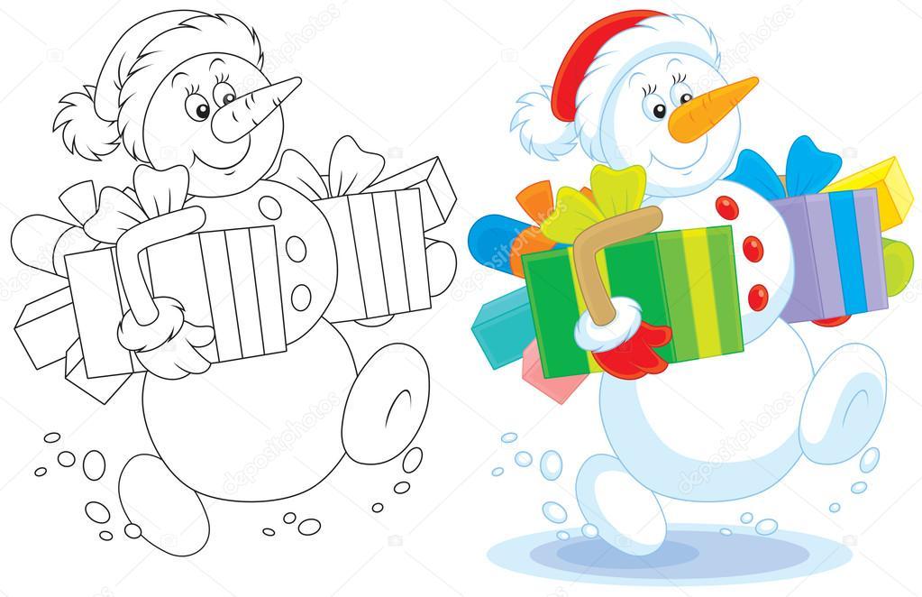 Schneemann mit Weihnachtsgeschenke — Stockvektor © AlexBannykh #31915015
