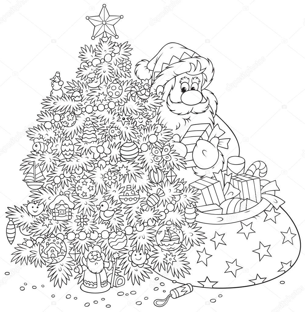 Papá Noel y árbol de Navidad — Archivo Imágenes Vectoriales ...