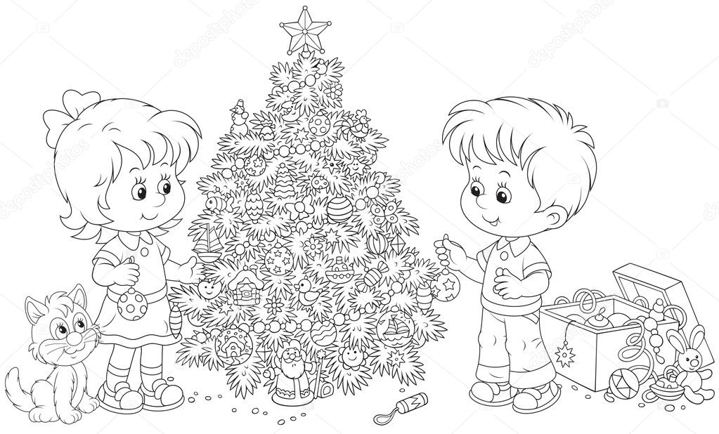 Black People Decorating For Christmas children decorating a christmas tree — stock vector © alexbannykh