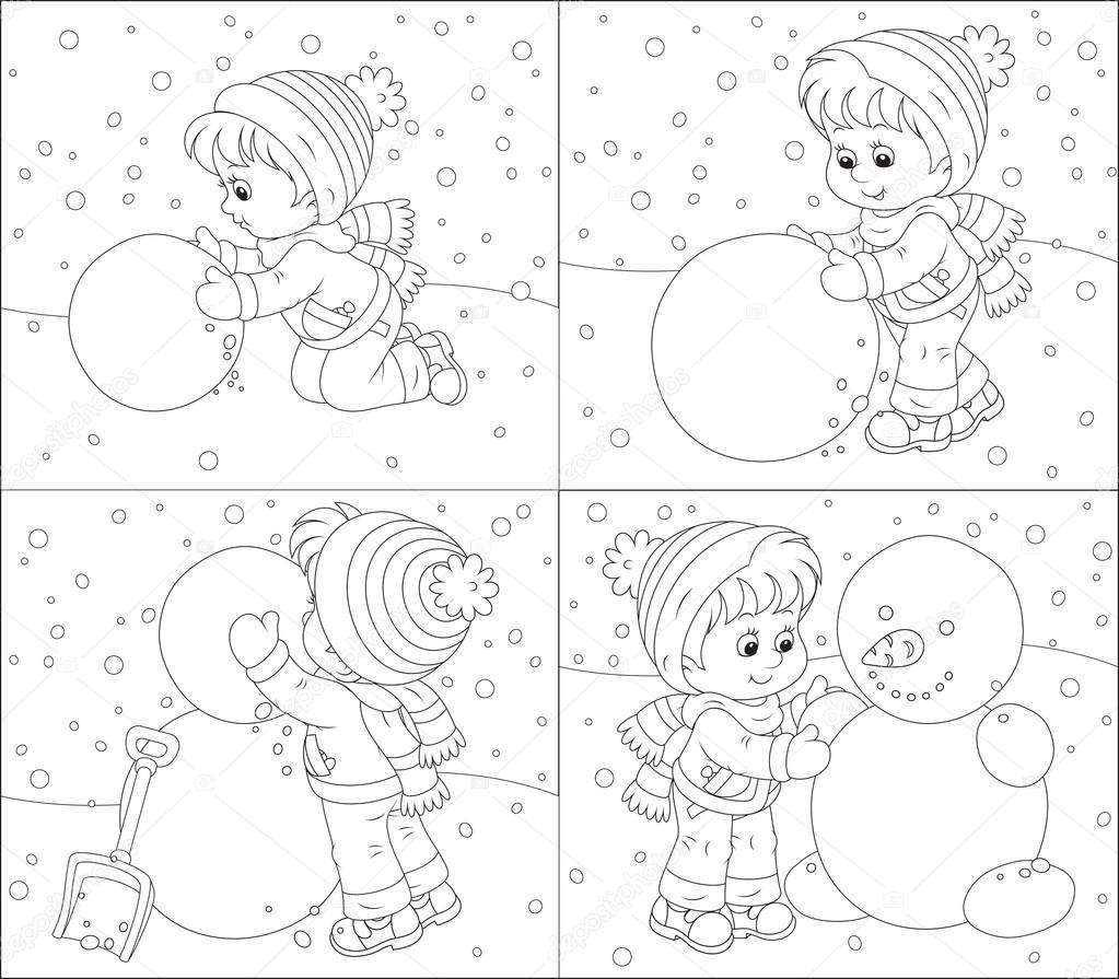 niño hace un muñeco de nieve — Vector de stock © AlexBannykh #36780175