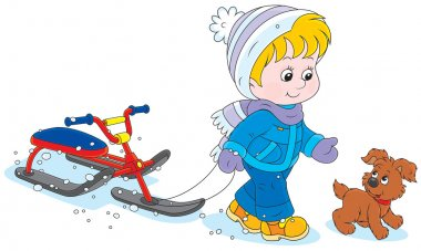 Child with a snow scooter and puppy