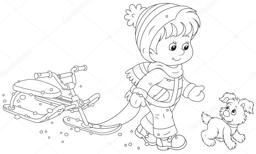 Kar Scooter Ile Yürüyen çocuk Stok Vektör Alexbannykh 37618995