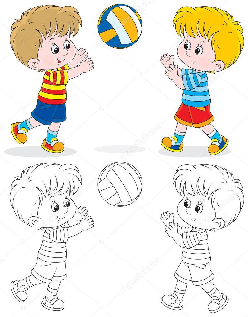 jugadores de voleibol — Vector de stock © AlexBannykh #37619001