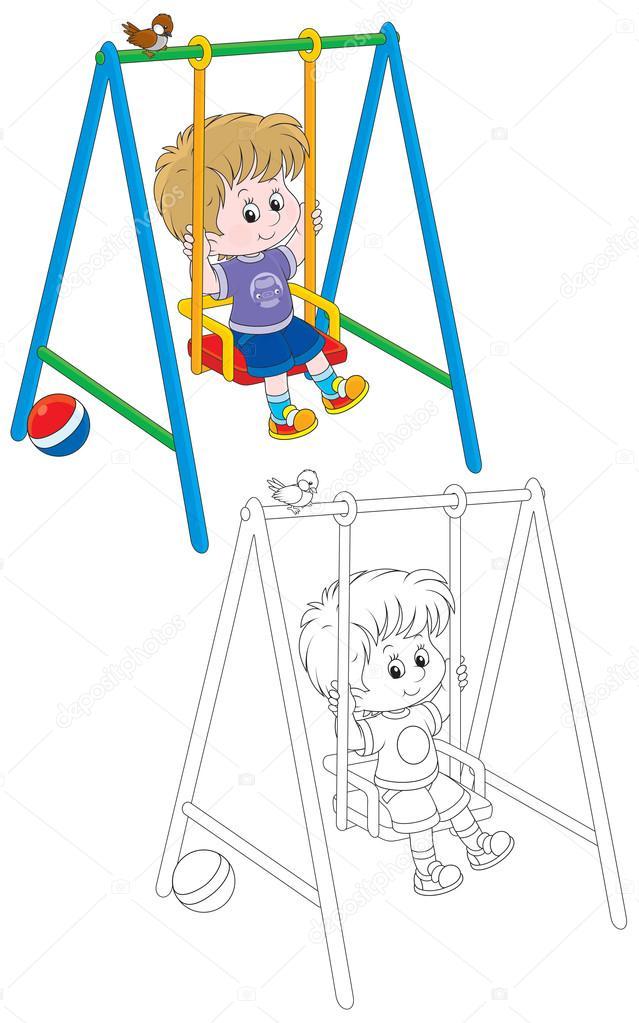 çocuk Bir Salıncak üzerinde Stok Vektör Alexbannykh 37891423