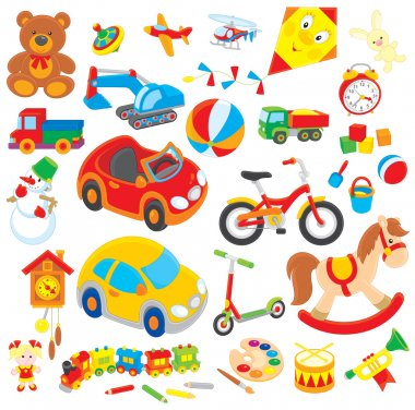 Set of colorful children's toys in cartoon style, on a white background stock vector