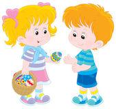 dívka a chlapec na velikonoční den