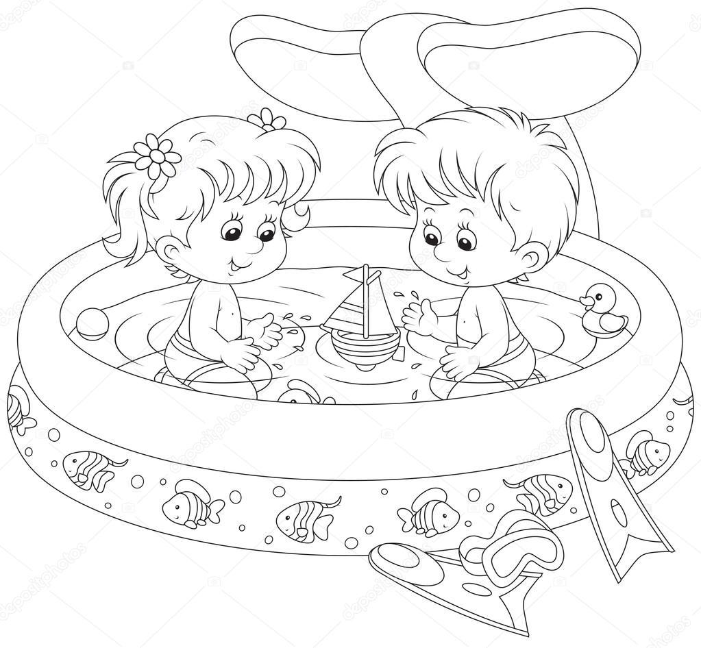 Imágenes: niños en la piscina para colorear | niños en una piscina