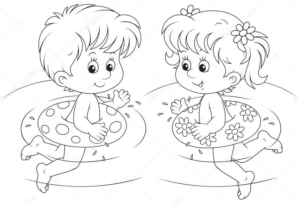 los niños nadan con círculos inflables — Vector de stock ...