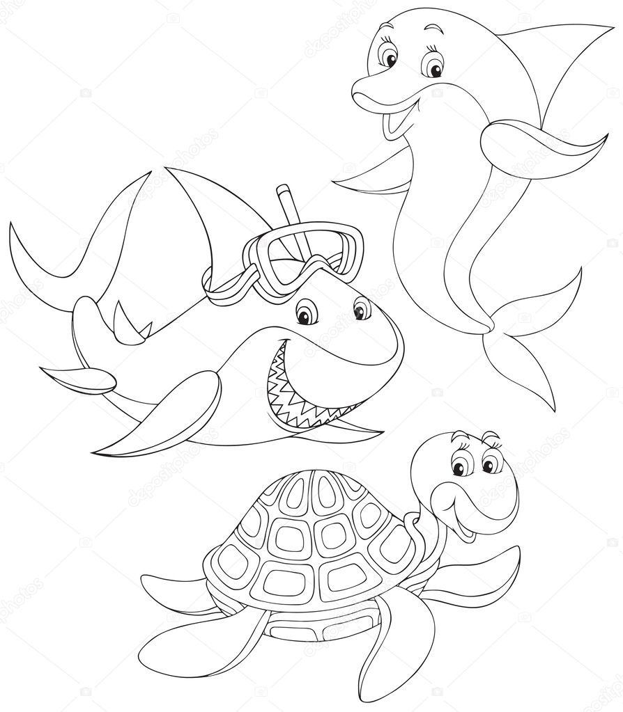 Shark, turtle and dolphin 18
