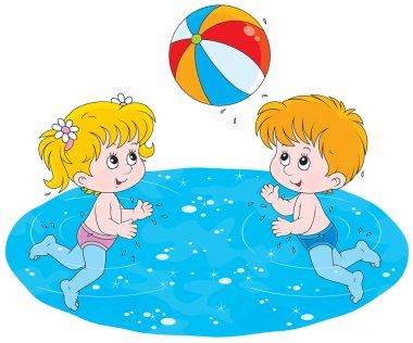 Children play a ball in water