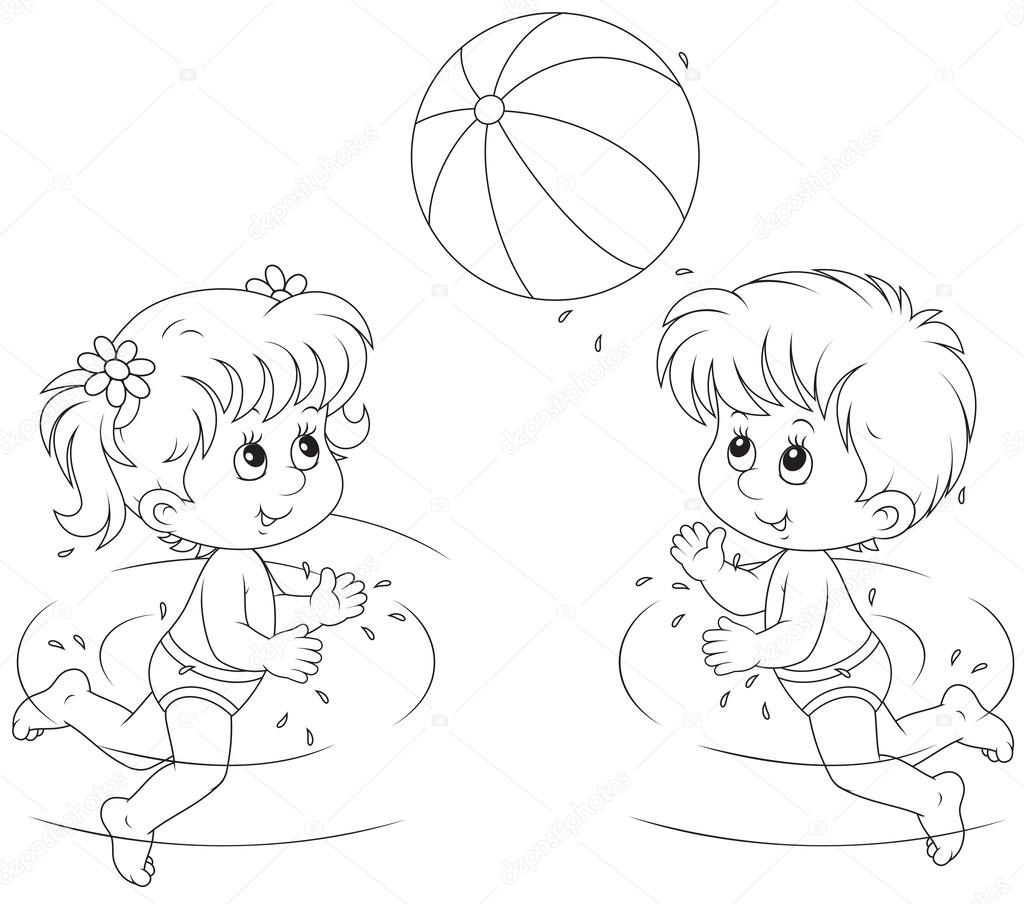 Girl And Boy Play A Ball In Water Stock Vector Alexbannykh 40713145