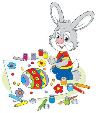 Little Bunny draws an Easter card