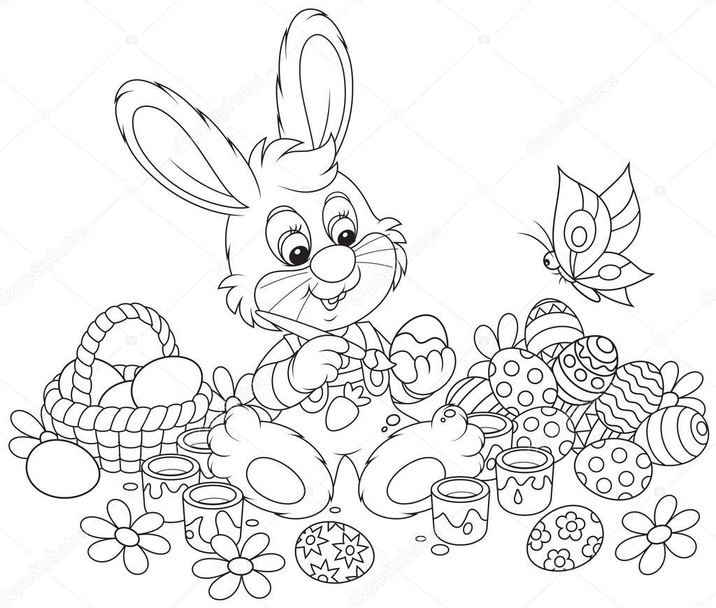 conejito pinta los huevos de Pascua — Vector de stock © AlexBannykh ...