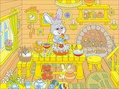 Velikonoční zajíček kuchaři o svátku dort