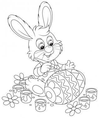 Little Bunny paints an Easter egg